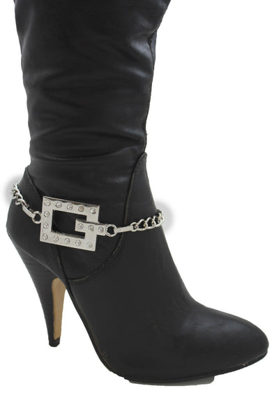 Silver Boot Chains Bracelet Beaded Square Anklet Shoe Bling Charm New Women Fashion Accessories - alwaystyle4you - 12