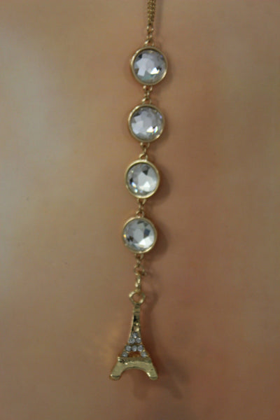 Gold Eiffel Tower Back Pendant Necklace Metal Chains New Women Fashion Jewelry - alwaystyle4you - 2