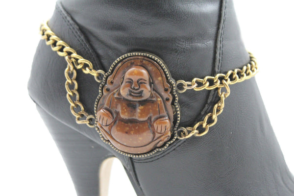 Gold Metal Boot Chain Bracelet Fat Buddha India Anklet Bohemian Shoe Charm New Women