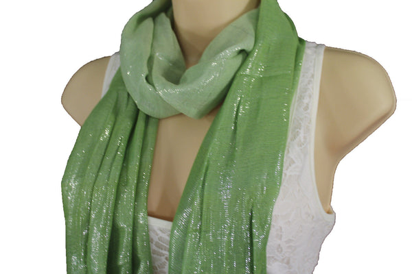 Green Long Soft Fabric Tie Neck Scarf Wrap Classic Bright Shiny Women Jewelry Accessories