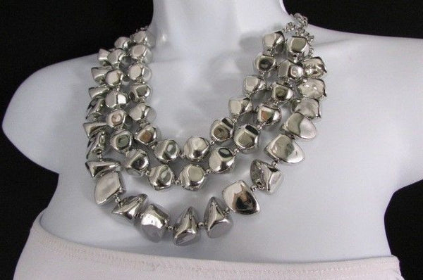 Long Shiny Silver Plastic Beads 3 Strands Fashion Necklace + Earring Set New Women - alwaystyle4you - 15