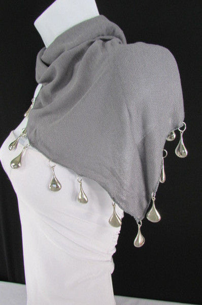 Solid New Women Scarf Fashion Necklace Gray Short Fabric Neck Multi Silver Drops Beads - alwaystyle4you - 10