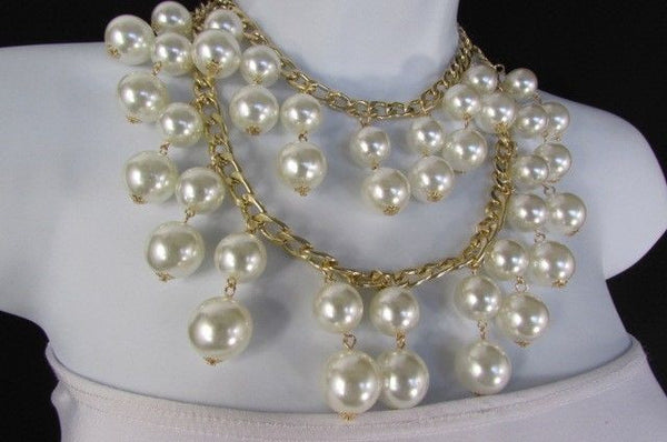 Gold Metal Long Double Chains 2 Strands Big Pearl Beads New Women - alwaystyle4you - 8
