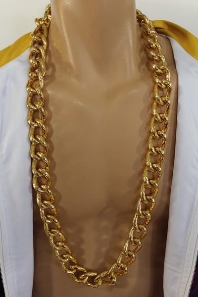 Chunky Metal Thick Chain Links Heavy Long Necklace Gold Hip Hop New Men Biker Fashion - alwaystyle4you - 7