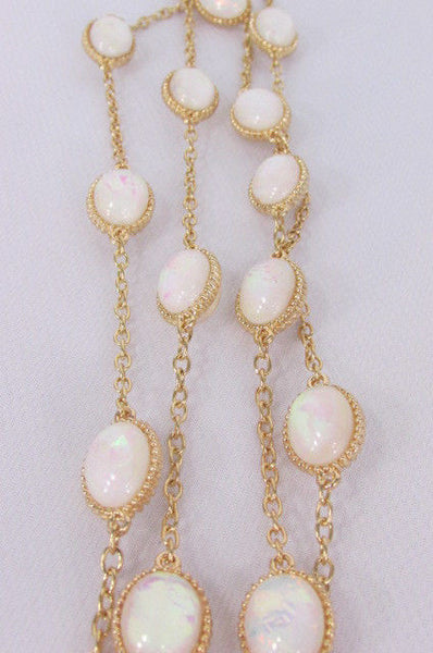 "Extra Long Gold Chains Shiny Cream Beads Fashion Necklace + Earrings Set New Women 26"" - alwaystyle4you - 13"