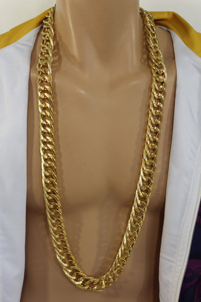 Gold Metal Chain Links Extra Long Necklace New Men Chunky Gangster Hip Hop Biker Fashion - alwaystyle4you - 1