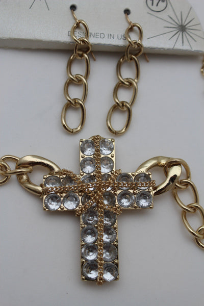 Short Gold / Silver Metal Chains Cross Pendant Necklace + Earring Set New Women Fashion Jewelry - alwaystyle4you - 11