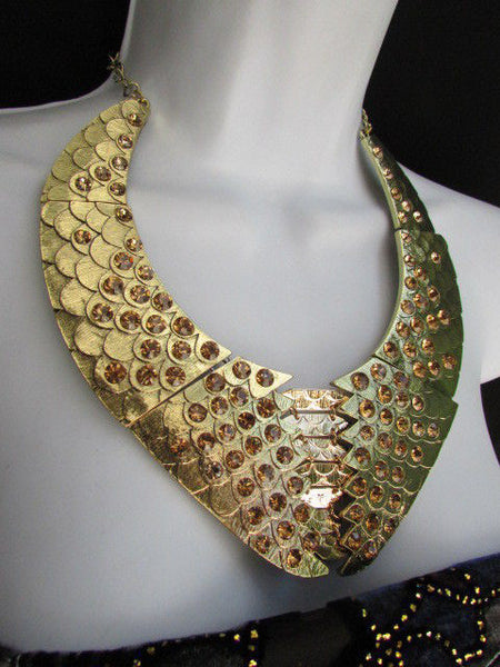 Gold /  Silver Metal Plates Snake Skin Rhinestones Necklace + Earrings Set New Women Fashion - alwaystyle4you - 11
