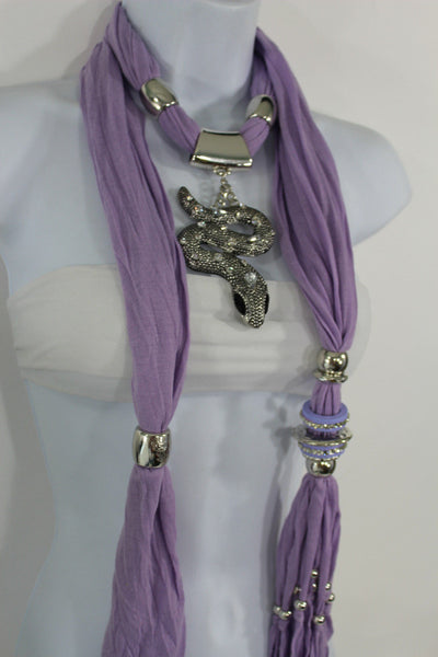 Women Lavender Fashion Scarf Fabric Silver Metal Snake Pendant Necklace Lilac - alwaystyle4you - 10