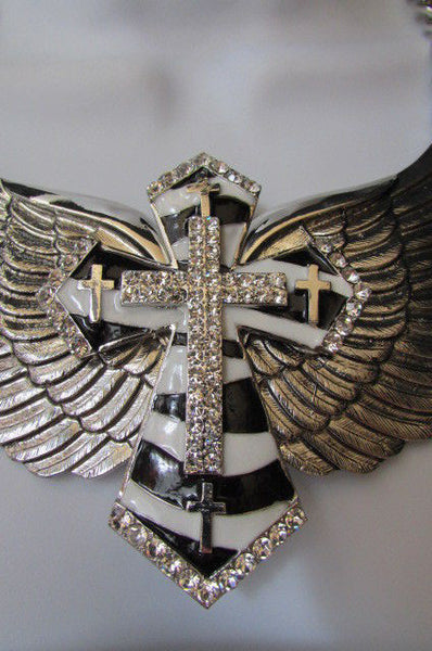 Big Bow Zebra Angel Wings Pendant Black Cross Stripes Rhinestones New Women - alwaystyle4you - 12