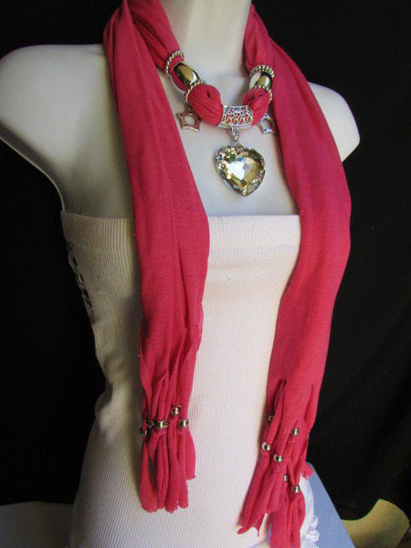 Pink Bowen Soft Fabric Scarf Necklace Silver Big Heart Crystal Stars Pendant New Women Fashion - alwaystyle4you - 22