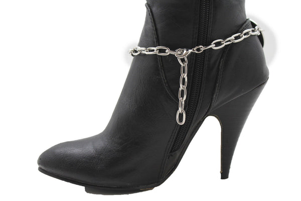 Silver Metal Boot Bracelet Chain Big Rings Anklet Bling Shoe Charm Women New Boho Style Western - alwaystyle4you - 11