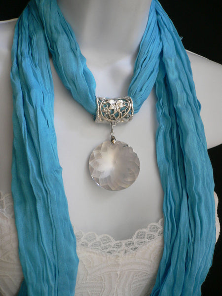 Light Blue Necklac Scarf Big Silver Crystal Flower Pendant Glass New Women Fashion