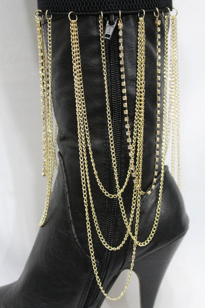 Gold Metal Boot Bracelet Chain Long Drop Bling Anklet Elastic Band New Women Western Hot Accessories - alwaystyle4you - 10