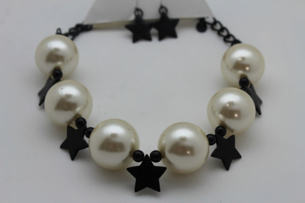 Black / Silver / Gold / Red / White Metal Stars Ball Beads Short Ivory Necklace + Earring Set New Women Fashion Jewelry - alwaystyle4you - 14