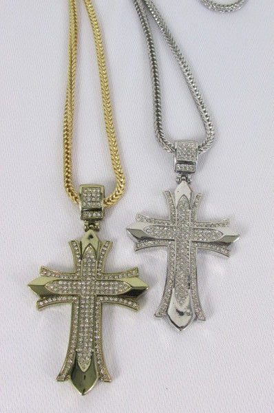 "Silver / Gold Metal Chain 35"" Long Fashion Necklace  Large Cross Pendant New Men - alwaystyle4you - 17"