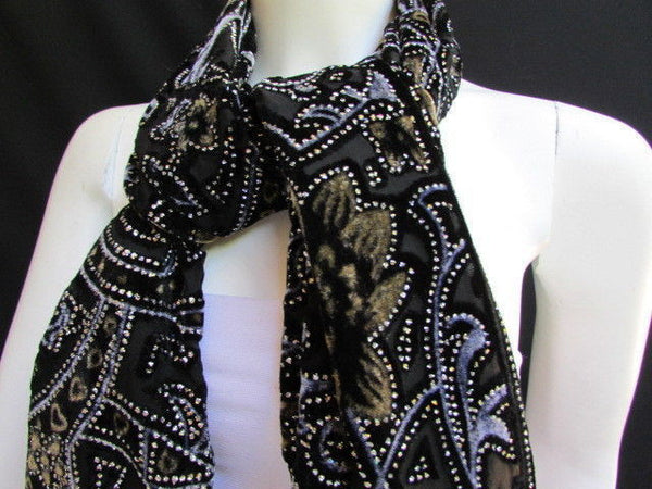 Women Scarf Black Multi Colors Big Flowers Faux Velvet European Stylish Shades - alwaystyle4you - 10