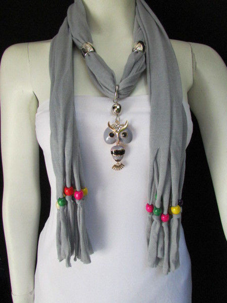 Black, Blue, Beige, Gray, White Soft Scarf Long Necklace Multicolors Wood Beads Owl Pendant New Women Fashion Accessory - alwaystyle4you - 10