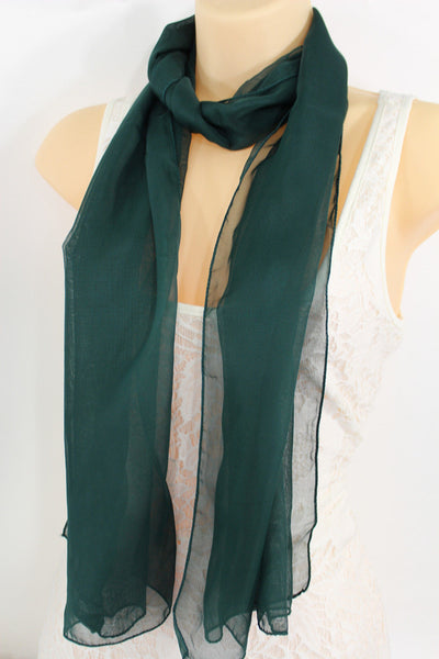 Dark Brown Dark Green Dark Blue Brown Neck Scarf Long Soft Sheer Fabric Tie Wrap Classic New Women Fashion - alwaystyle4you - 10
