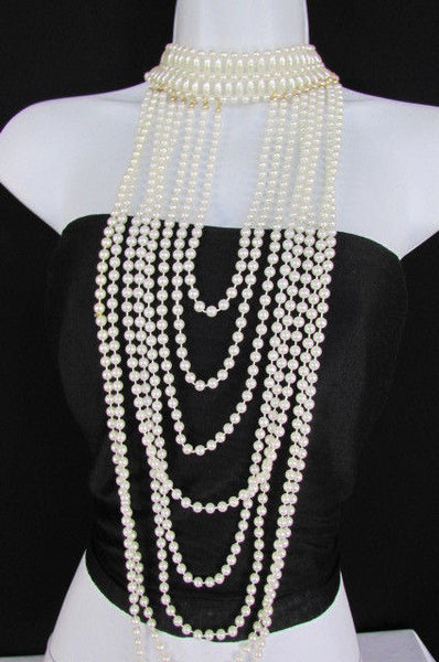 Black / White Metal Beads Extra Long 8 Strands Choker Necklace New Women Fashion - alwaystyle4you - 18