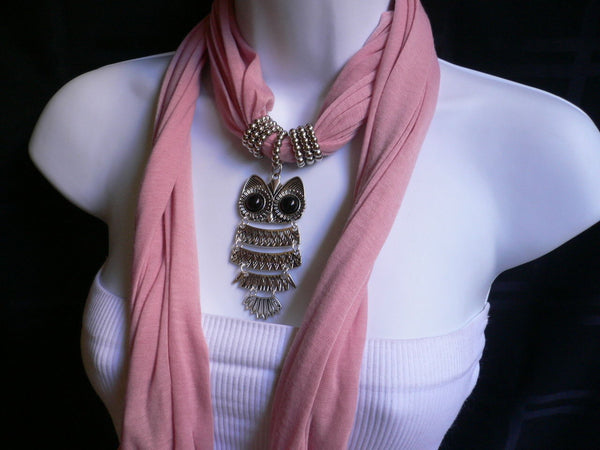 New Women Long Beige / Pnk Soft Scarf Fashion Necklace Silver Owl Pendant Rhinestones - alwaystyle4you - 18