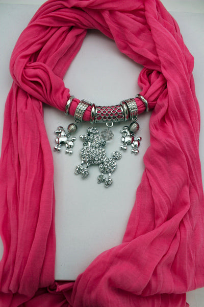 Blue, Black, L. Pink, Pink Fuscia Soft Fabric Scarf Silver Metal Poodle Dog Pendant New Women Fashion - alwaystyle4you - 20