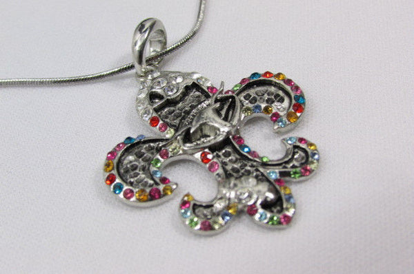 Silver Metal Fleur De Lis Lily Flower Bull Colorfull Rhinestones/ Silver Necklace New Women Fashion - alwaystyle4you - 10