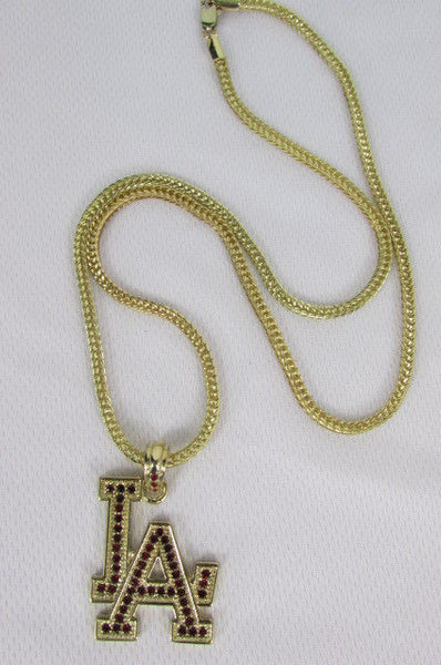 "Gold Silver Pewter Metal Chains 25"" Long Necklace Pewter Big LA Pendant New Men Fashion - alwaystyle4you - 23"