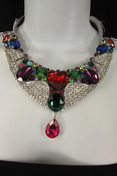 Silver Metal Multicolor Alloy Charm Bib Necklace New Women Fashion Jewelry - alwaystyle4you - 12