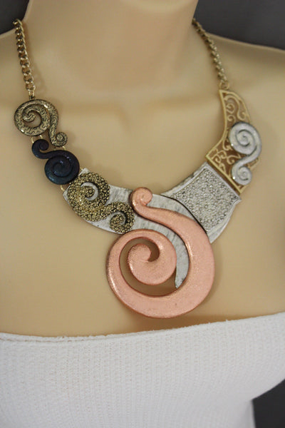 Gold Silver Copper Metal Chain Snail PendantNecklace New Women Fashion + Earrings Set - alwaystyle4you - 12