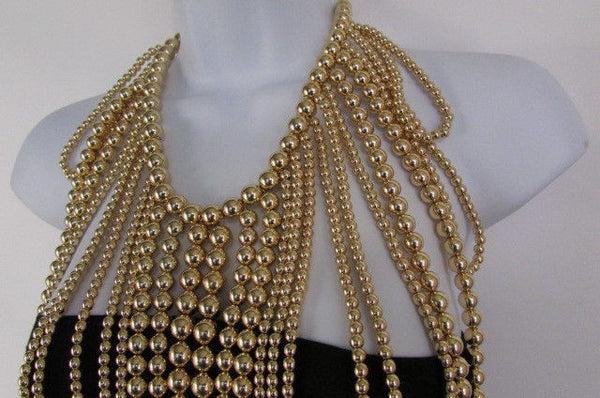 "Gold Multi Ball Beads 30"" Extra Long Unique Statement Necklace + Earrings Set  New Women Fashion - alwaystyle4you - 15"