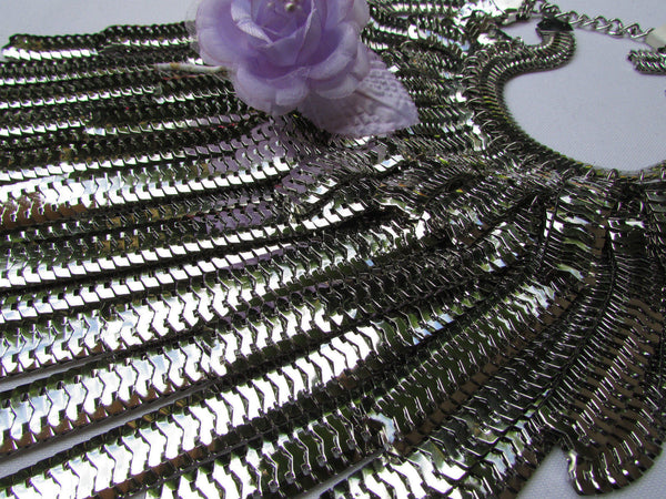 "Dressy Casual Wide Multi Strand Gold / Silver Links Chains Wide Metal New Women Necklace 20"" - alwaystyle4you - 24"