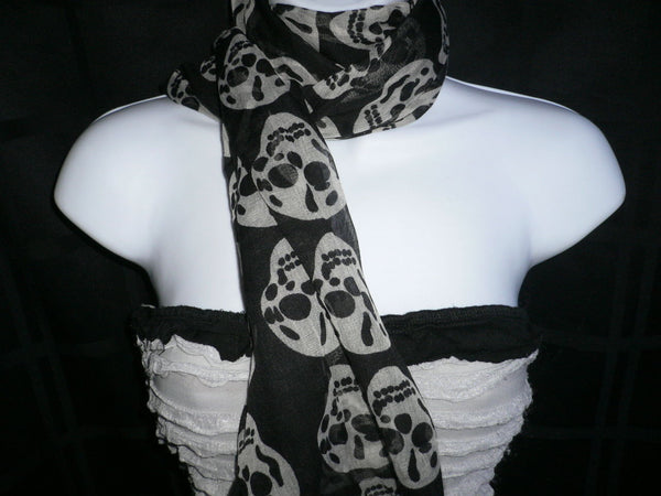New Women Black Scarf Gray Beautiful Skulls Skeleton Drawing Soft 100% Polyester - alwaystyle4you - 10