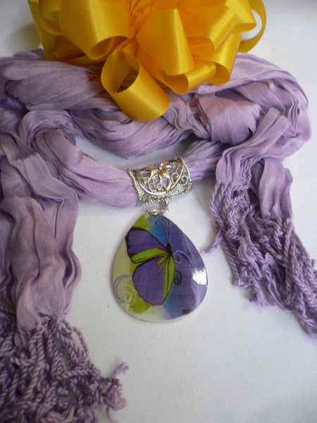 Lavander Scarf Necklace Big Seashell Pendant Purple Butterfly New Women Fashion - alwaystyle4you - 10