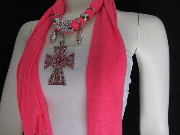 New Women Soft Fabric Dark Brown / Pink Scarf Necklace Western Rhinestones Cross Pendant - alwaystyle4you - 1