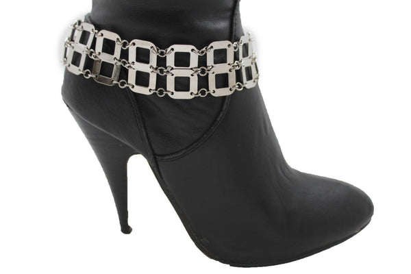 Silver Metal Boot Chains Bracelet Sqaure Geometric Anklet Bling Shoe Charm New Women Western Fashion - alwaystyle4you - 10