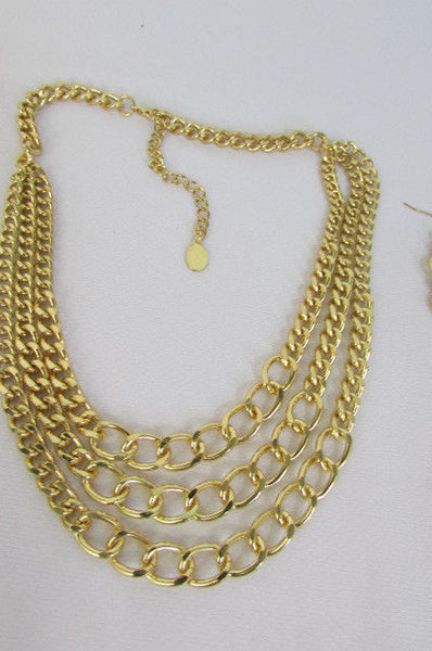 Gold Three Thick Chains Links Strands Necklace + Earrings Set New Women Trendy Fashion - alwaystyle4you - 6