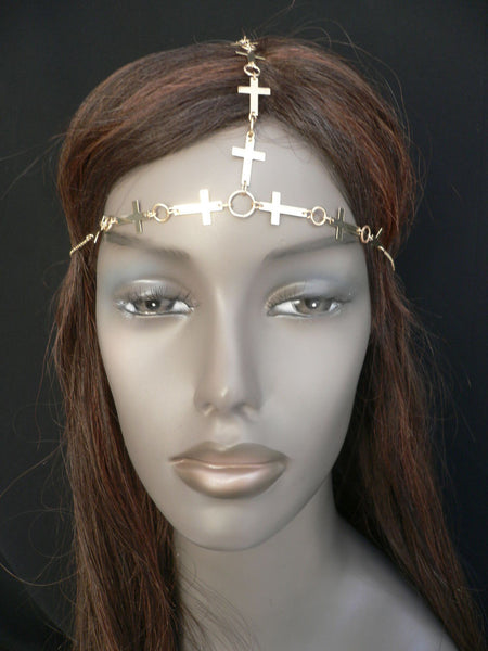 Gold Metal Head Chain Multi Small Crosses Trendy New Women Beach Party Fashion Accessories