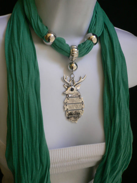 Green  / Red / White / Blue / Beige / Pink / Mustard Long Soft Scarf Necklace Silver Metal Deer Head Pendant For Christmas New Women Fashion - alwaystyle4you - 35