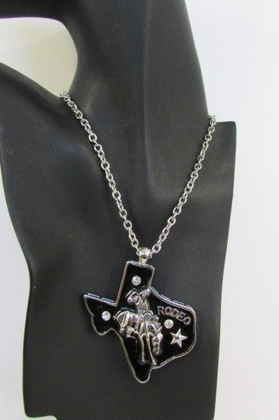 Long Silver Chains Big Black Texas Rodeo Horse Pendant Necklace + Earrings Set New Women - alwaystyle4you - 6