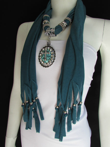 Blue Pink Beads Fabric Scarf Long Necklace Rhinestones Cross Pendant New Women Fashion - alwaystyle4you - 1