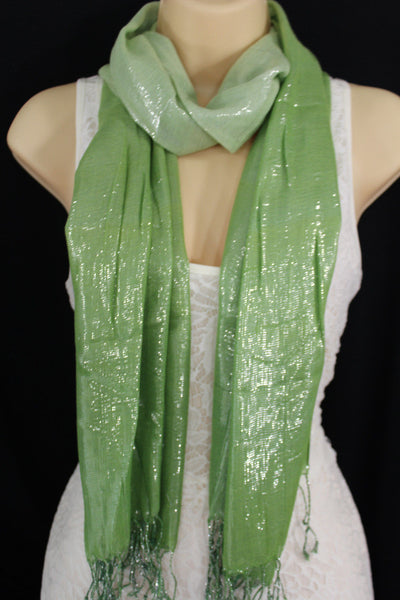 Green Neck Scarf Long Soft Fabric Tie Wrap Classic Bright Shiny New Women Jewelry Accessories - alwaystyle4you - 1