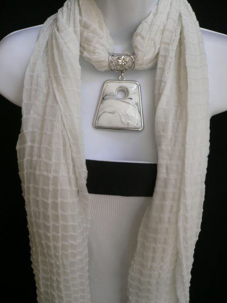 New Women Accessories White Poofy Soft Fashion Scarf Necklace Big Square Bead Pendant - alwaystyle4you - 3