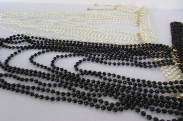 Black / White Metal Beads Extra Long 8 Strands Choker Necklace New Women Fashion - alwaystyle4you - 9