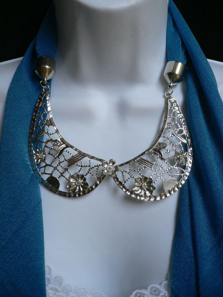 Royal Blue Fashion Scarf Necklace Silver Metal Flowers Collar Pendant New Women Jewelry - alwaystyle4you - 12
