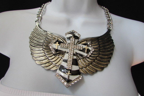 Big Bow Zebra Angel Wings Pendant Black Cross Stripes Rhinestones New Women - alwaystyle4you - 3