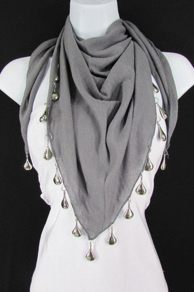 Solid New Women Scarf Fashion Necklace Gray Short Fabric Neck Multi Silver Drops Beads - alwaystyle4you - 1