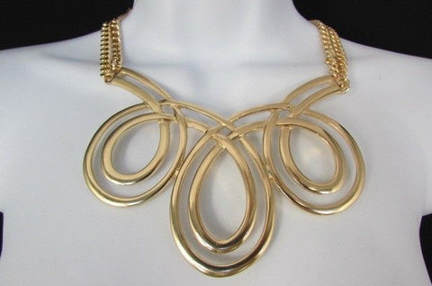 Gold / Silver Twisted 3 Drops Chain Necklace + Earring Set New Women Chunky Fashion - alwaystyle4you - 1