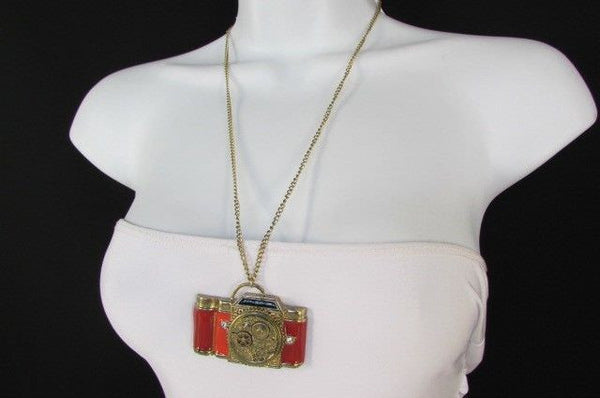Old Fashion Collector Camera Red Orange Long Rusty Gold New Women Necklace - alwaystyle4you - 6