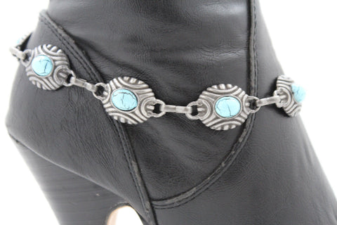 Silver Turquoise Blue Anklet Shoe Charm Boot Metal Chains Bracelet New Women Western Fashion - alwaystyle4you - 1